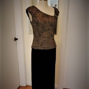 Patra Black Velvet and Gold Lace Gown, Size 10